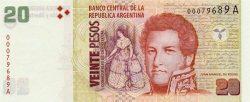 Валюта с историческими документами — аргентинское песо